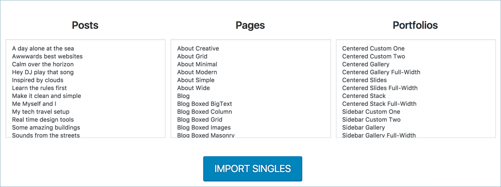 Importing Single Page Layouts in Uncode Theme