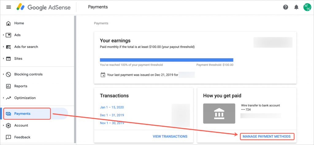 Manage Payment Methods in AdSense