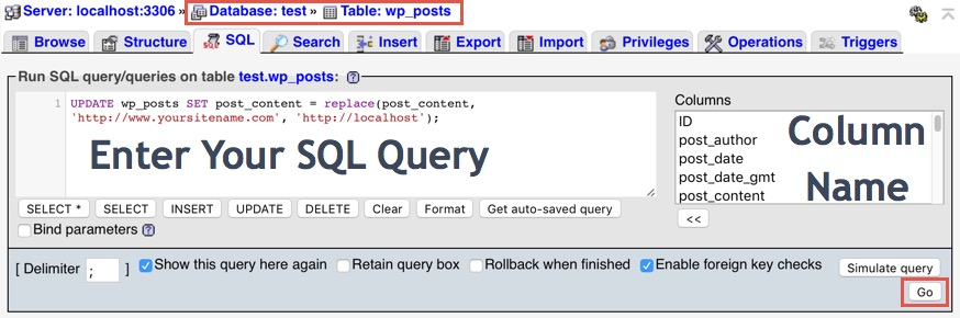 Running Query at Table Level