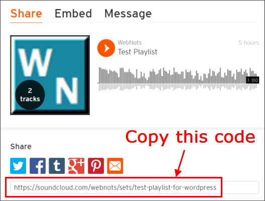SoundCloud Share URL Code
