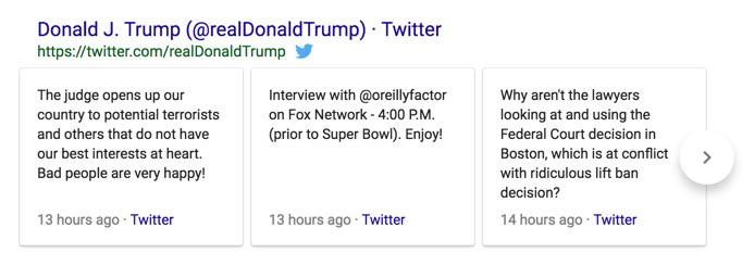 Twitter Results Showing in Google Search