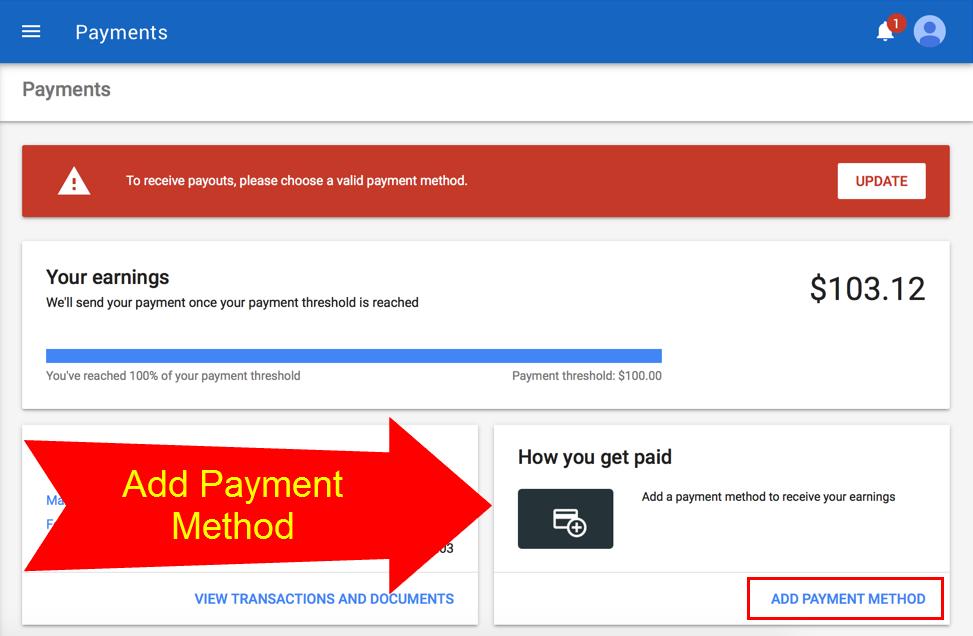 Add Payment Method in Google AdSense