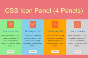 CSS Icon Panel (4 Panels)