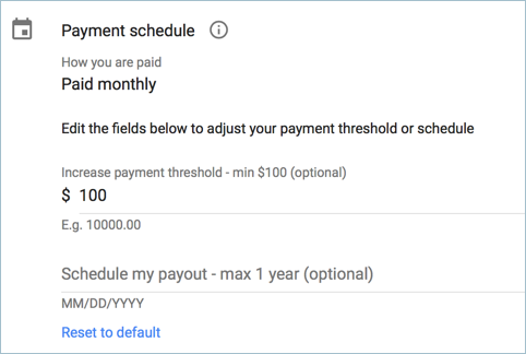 Changing AdSense Payment Threshold and Schedule