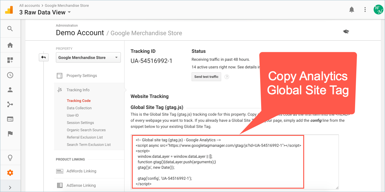 Copy Google Analytics Tracking Code