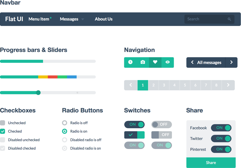 Flat UI Design Elements Examples