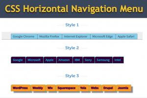 CSS Horizontal Navigation Menu