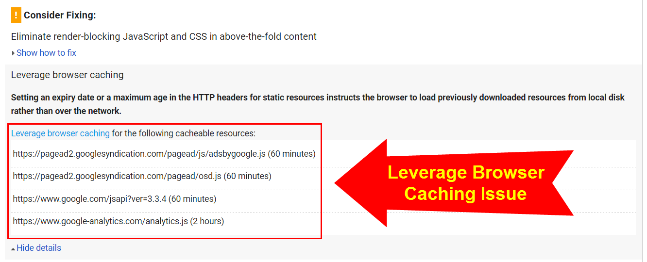 Leverage Browser Caching Issue
