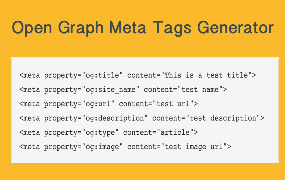 Open Graph Meta Tags Generator