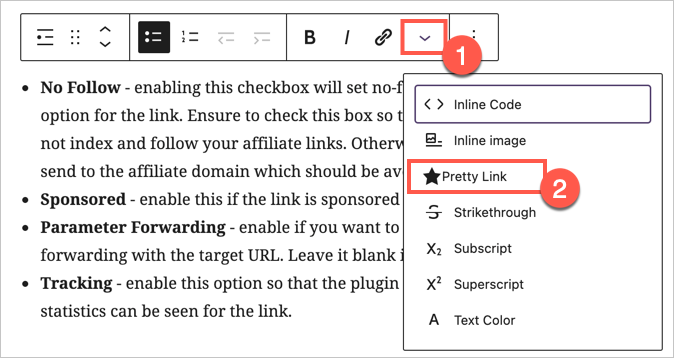 Pretty Links in Gutenberg