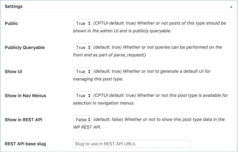 Settings Section of CPT UI Plugin
