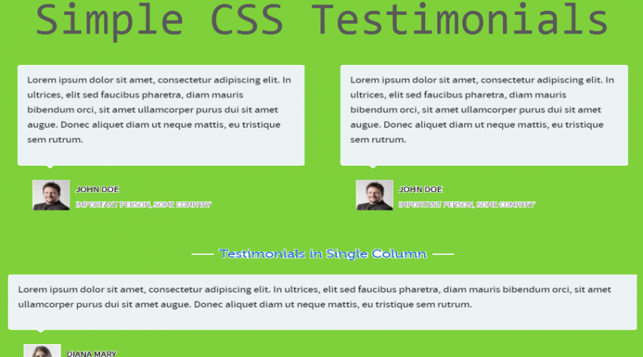Simple CSS Testimonials Widget