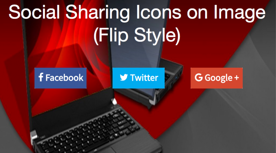 Social Sharing Icons on Image Hover – Flip Style