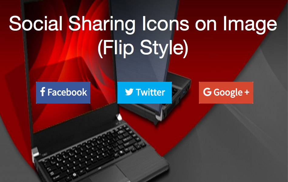 Social Sharing Icons on Image with Flip Style