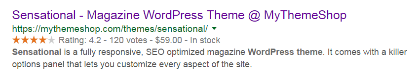 Theme Review Showing on Google