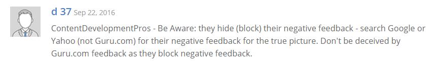 User Review on Guru.com