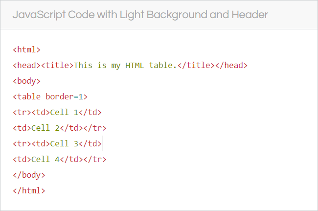 Weebly Code Block With Light Style and Header