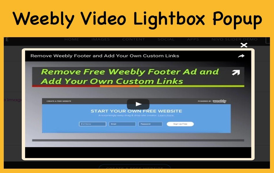 YouTube, Vimeo Video Lightbox Popup for Weebly