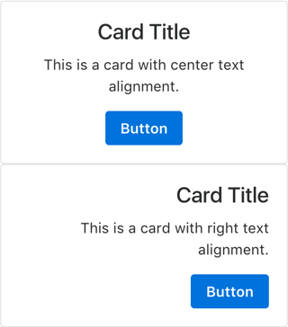 Card with Center and Right Text Alignments