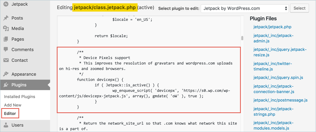 Jetpack Devicepx Code