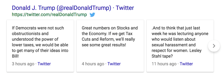 Twitter Tweets Shown in Google Search