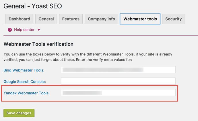 Add Yandex Verification Meta Tag in Yoast SEO