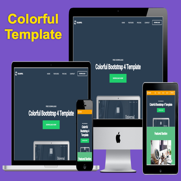 Colorful Bootstrap 4 Template