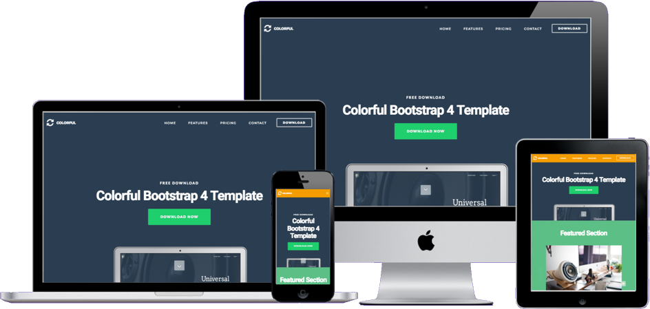 Colorful Bootstrap 4 Theme