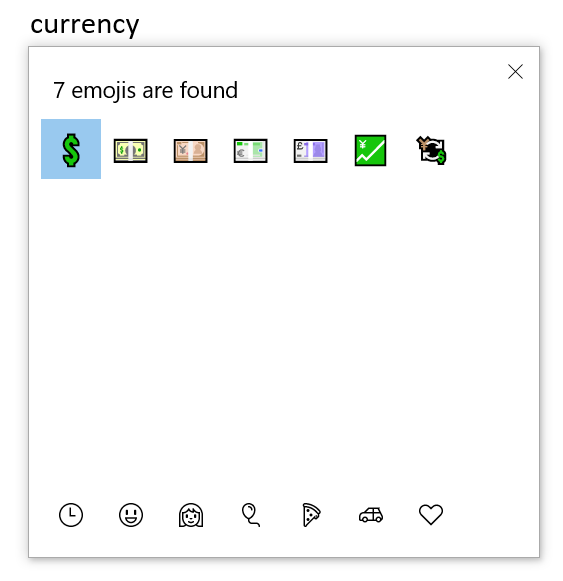Currency Emoji in Windows 10