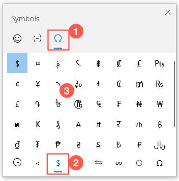 Currency Symbols in Windows Emoji Panel