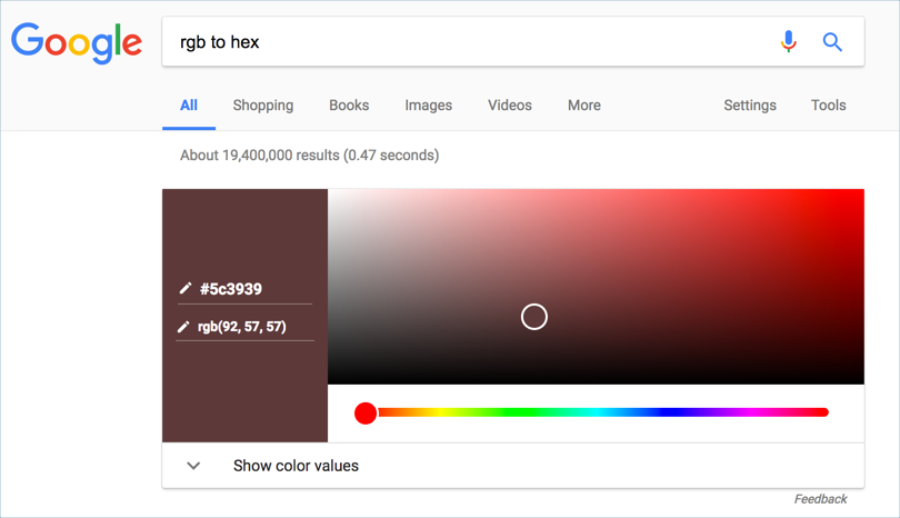 Google Color Converter and Color Picker