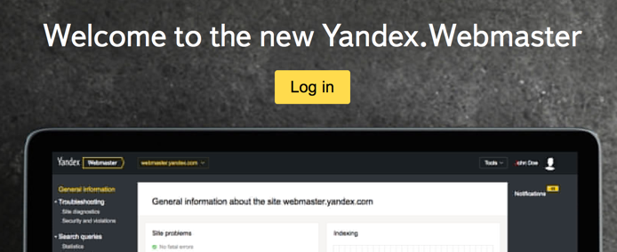 Login to Yandex Webmaster Tools Account