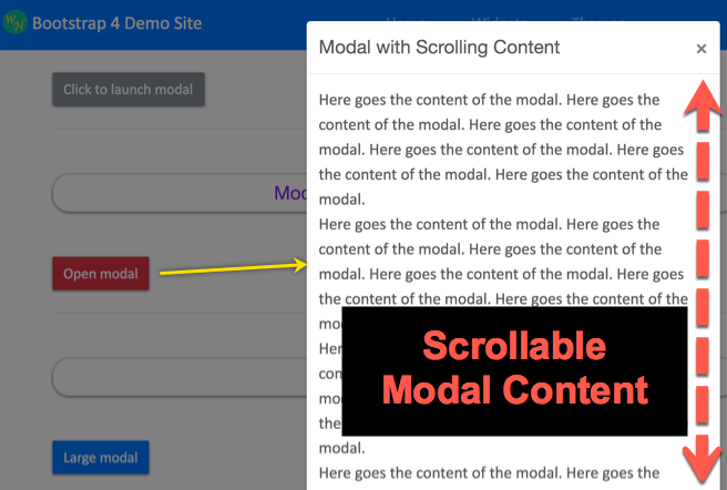 Scrollable Modal Content