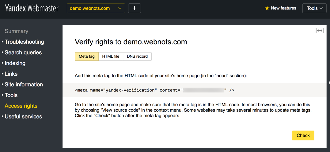 Yandex Meta Tag Verification Method