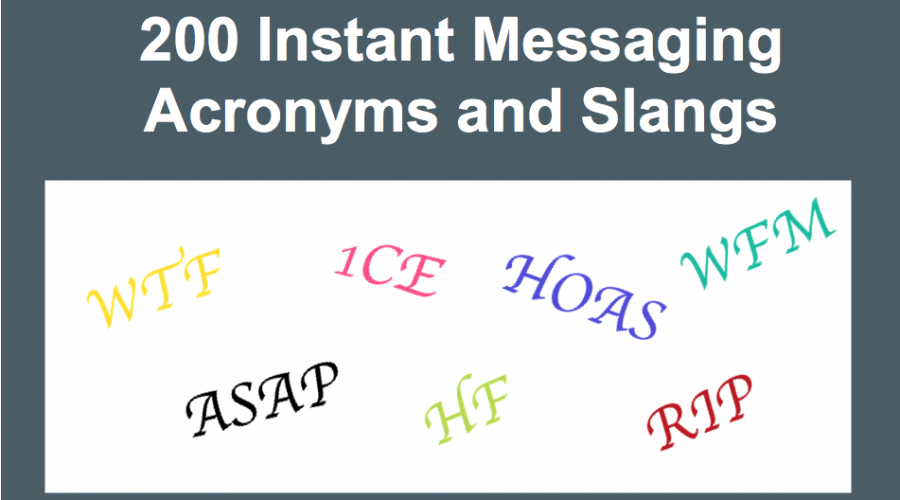 Top 200 Instant Messaging Acronyms and Slang List