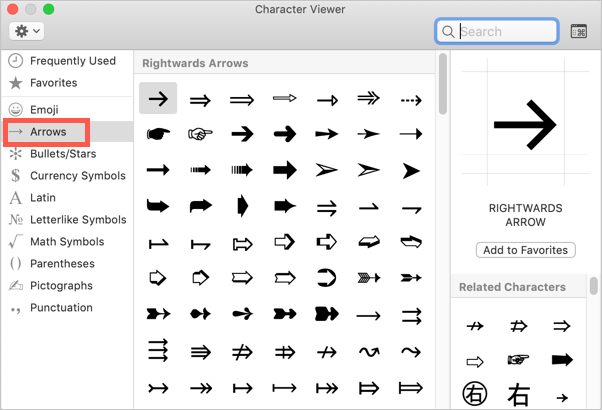 Arrows Symbols in Mac Character Viewer
