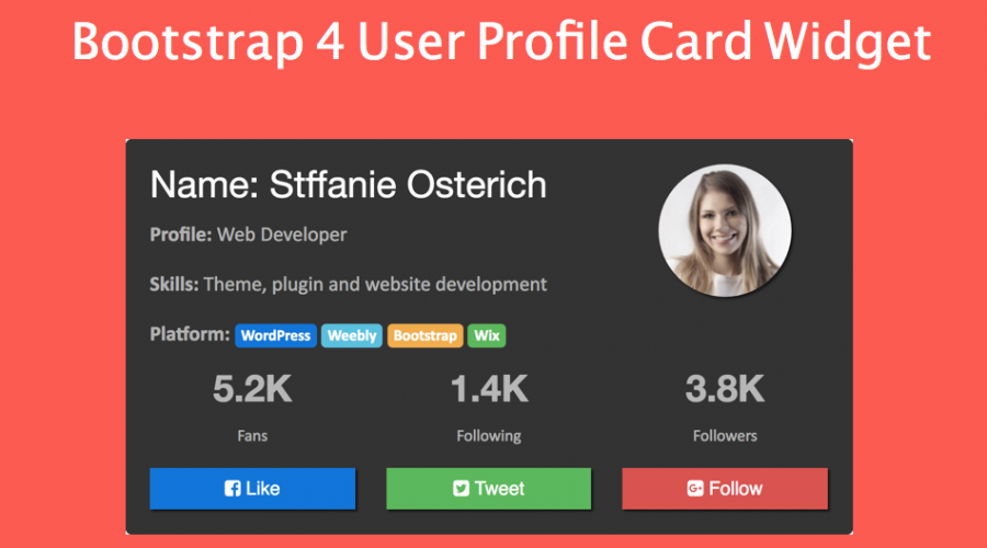 Bootstrap 4 User Profile Card Widget