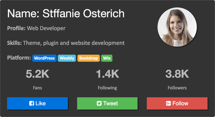 Bootstrap 4 User Profile Card
