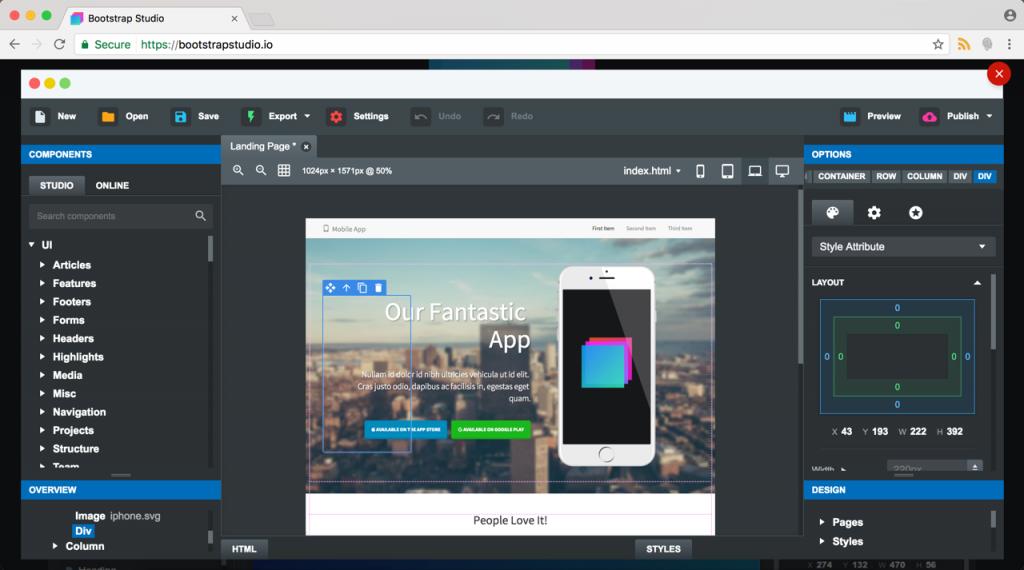 Bootstrap Studio Site Editor