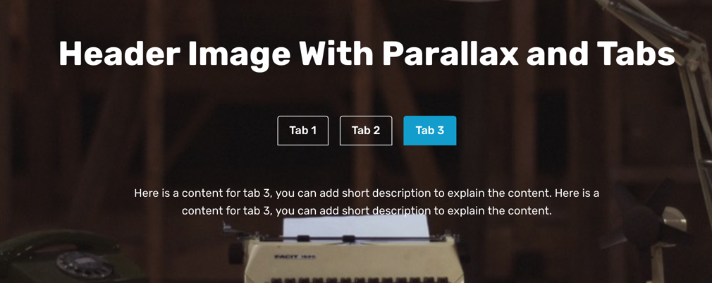 Parallax Tabs Section