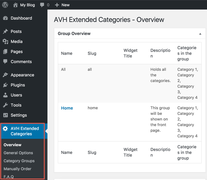 AVH Extended Categories Plugin Options