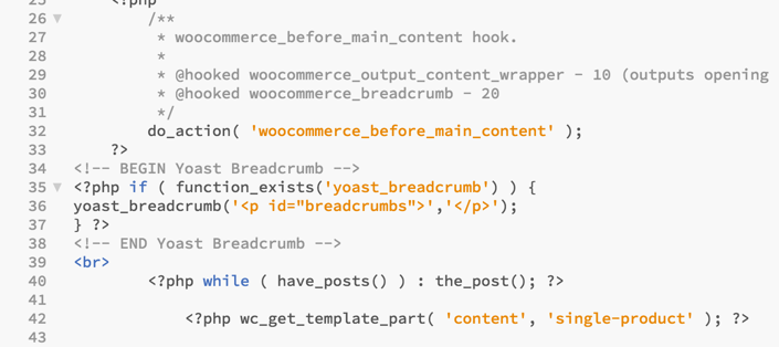 Add Yoast Breadcrumb in WooCommerce Product Pages