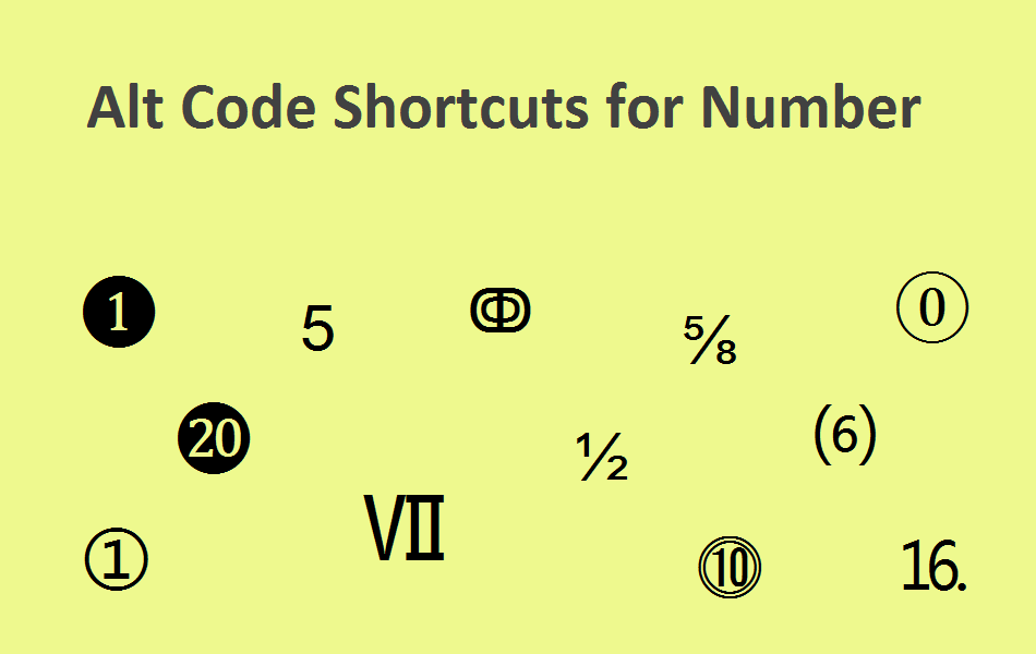 Alt Code Shortcuts for Numbers