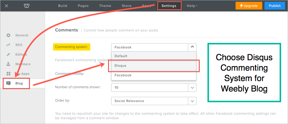 Choose Disqus Commenting System for Weebly Blog