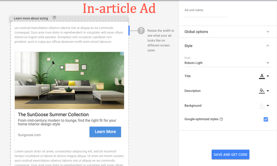 Creating In-article Ads