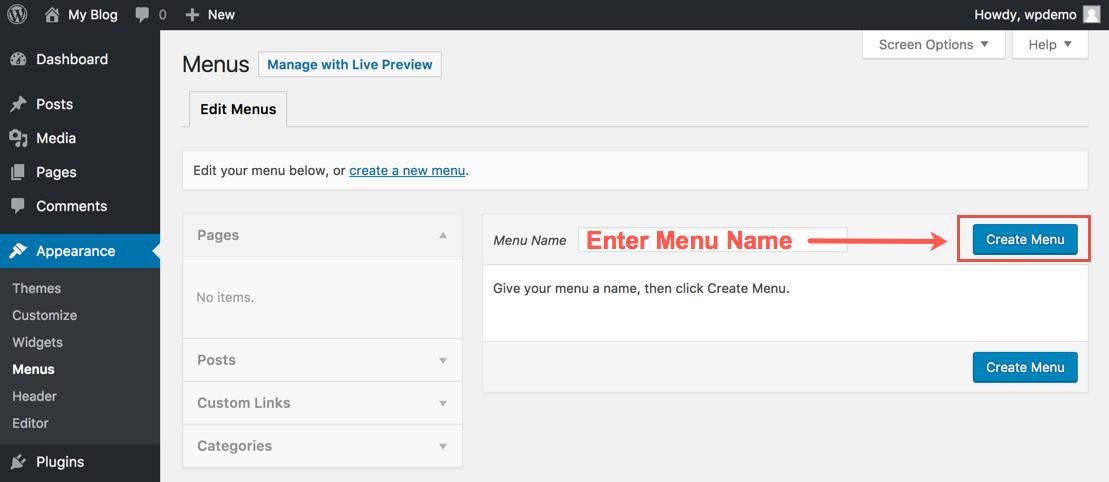 Creating a Menu in WordPress