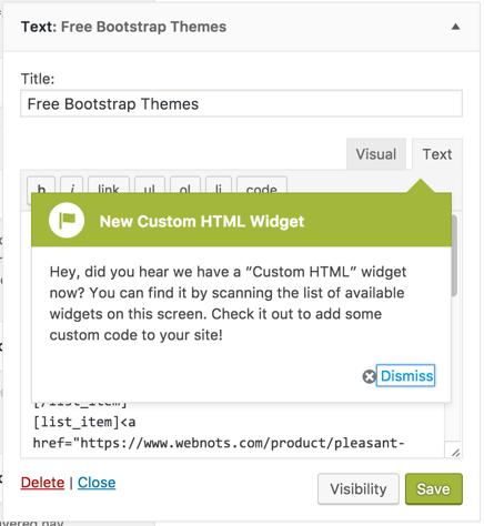 Custom HTML Widget Notification in Text Widget