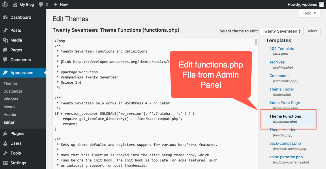 Edit functions.php in WordPress Admin Panel