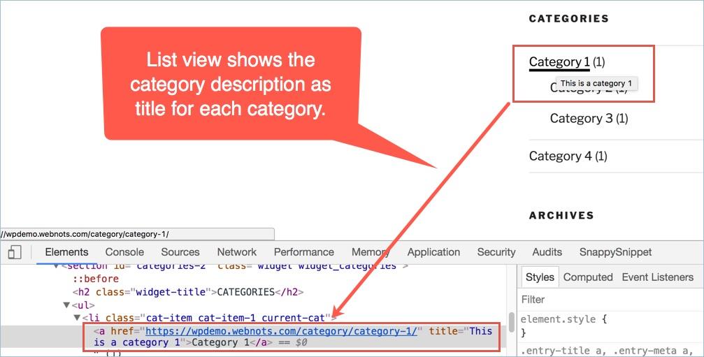 List View Showing Category Description as Title