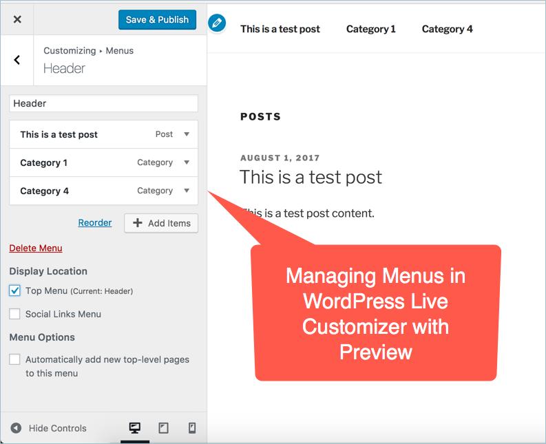 Managing Menus in WordPress Live Customizer